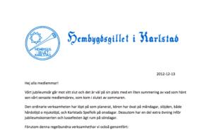 Medlemsbrev 13 december 2012